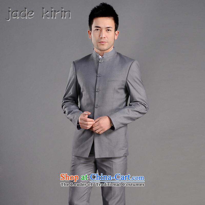 New suits men suit male suite Sau San collar suit suits China wind Chinese Young Men's Mock-Neck Chinese tunic ZS120105�180/XXL/ bridegroom ceremony gray trousers 33 Code