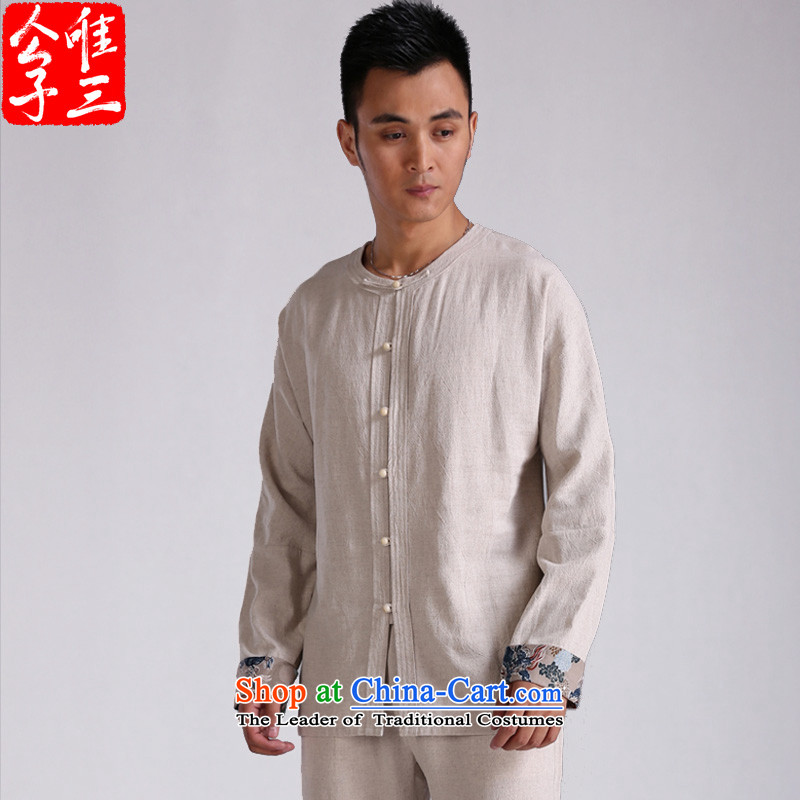 Cd 3 China wind bodhicitta cotton linen flax long-sleeved shirt Chinese men casual ball-Tang dynasty meditation shirt shows cyan large tide (L), CD 3 , , , shopping on the Internet