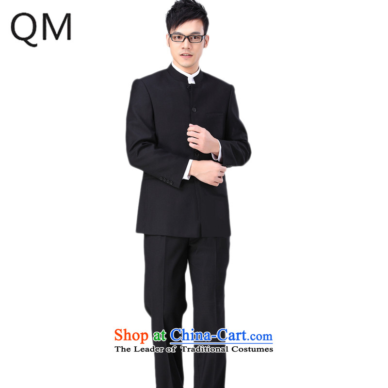 The end of the autumn and winter light Chinese tunic handsome Chinese tunic suit Chinese collar installed characteristics of national service students ZXS106 black jacket + pants 175-178cm XL trousers 33 or 34 weight 2015.2