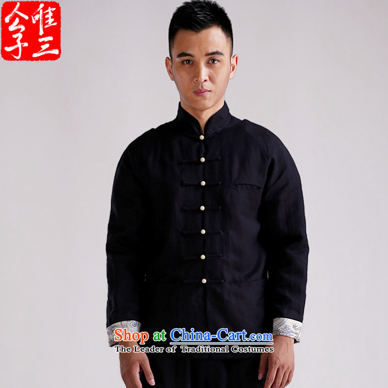 Cd 3 China wind Po Tai Monastery Tang Dynasty Chinese jacket and linen men of leisure ball meditation national costumes navy blue light _S_