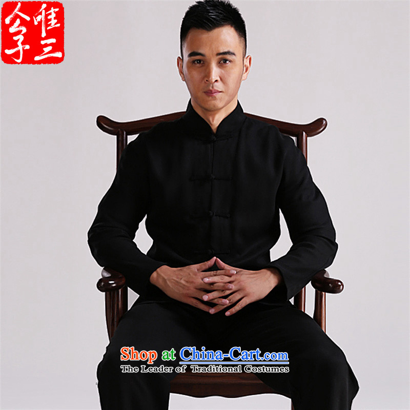 Cd 3 China wind Tianfu Shing Kwan Tencel retreat Yi-Tang dynasty detained men Chinese jacket national costumes new products black movement XXL