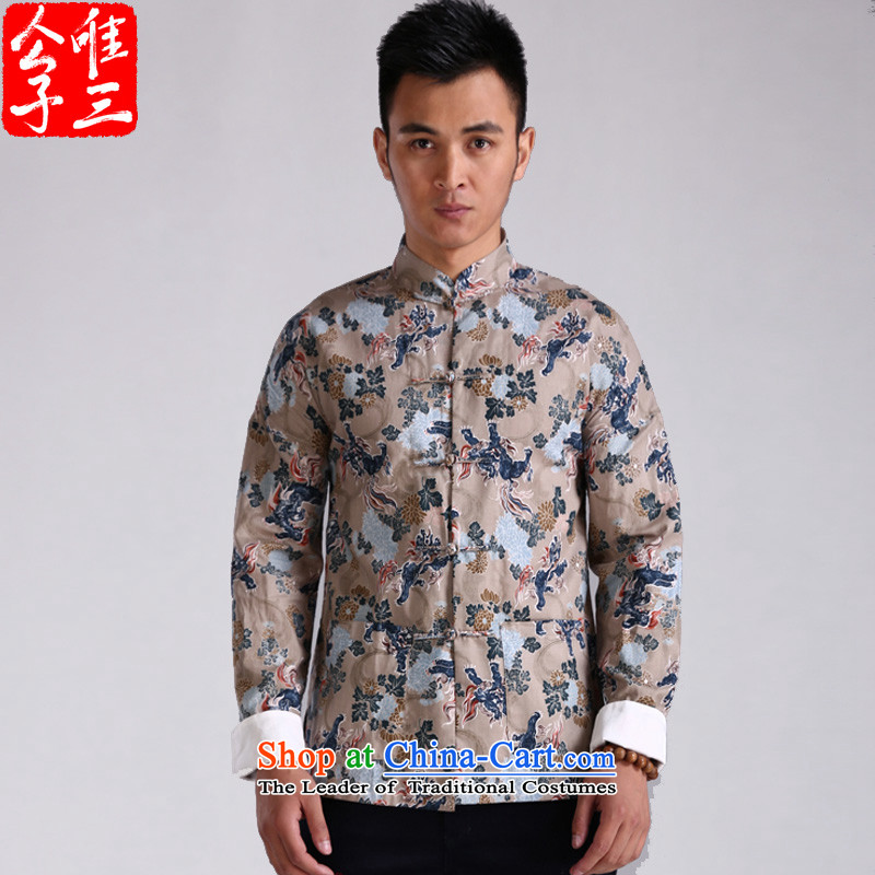 3 China wind ink unicorn stamp Tang Dynasty Men long-sleeved shirt, Chinese shirt shirts Sau San male and gray bottom unicorn small (S)