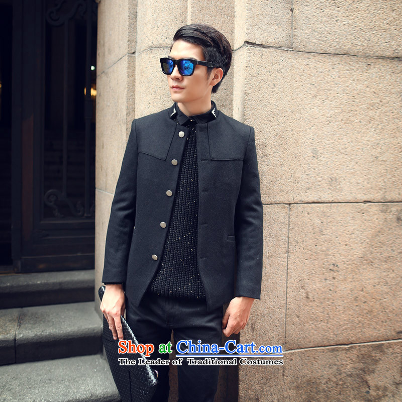 Happy Times 2014 autumn and winter new men men Korean leisure jacket collar wool a Sau San Chinese tunic black燤