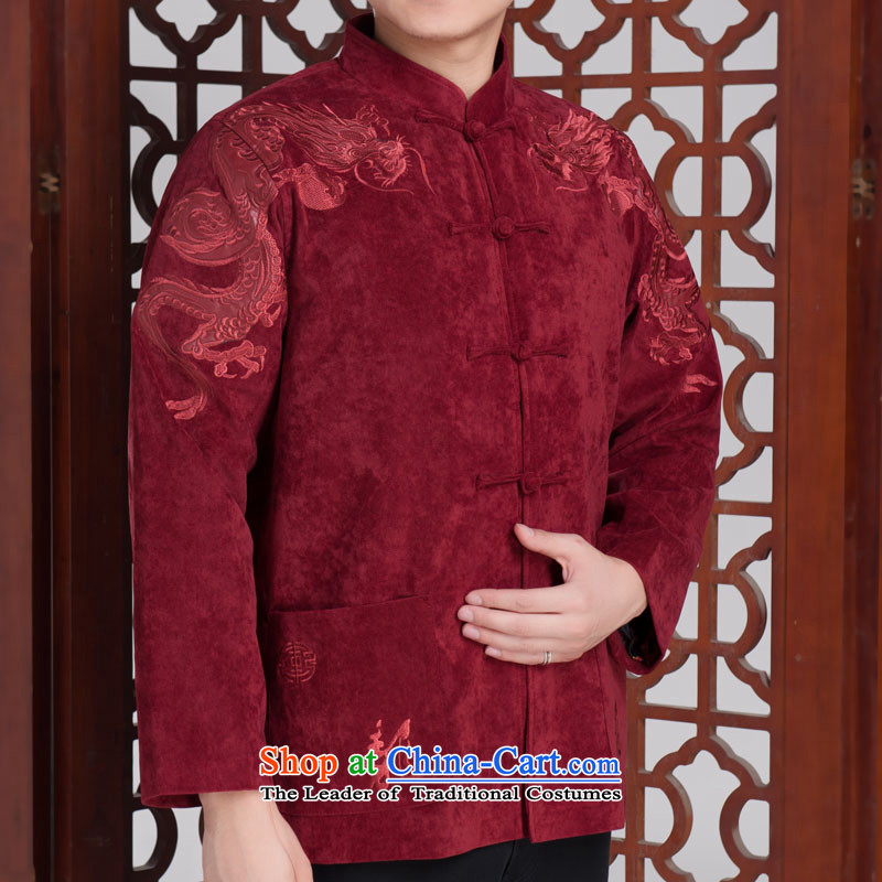 Flying Dragon in Tang Dynasty Older long-sleeved Fall/Winter Collections Kim Dragon shirt Chinese cashmere patterns hidden blue black?170/92A(XL)