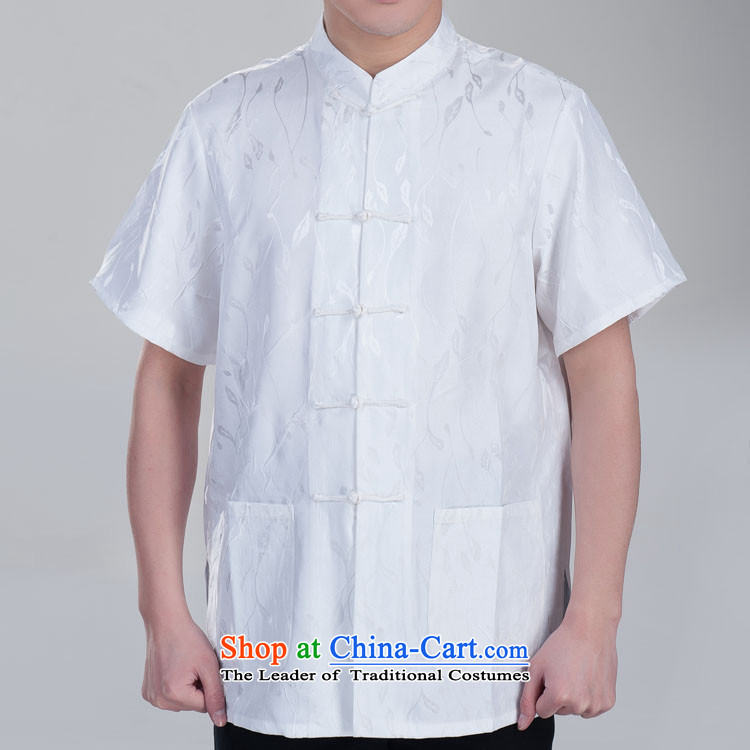 Mute the Tang dynasty figure male taxi short-sleeved Tang Tang dynasty in older men and Tang dynasty Summer gift beige 180/100(XXXL) Father's Day