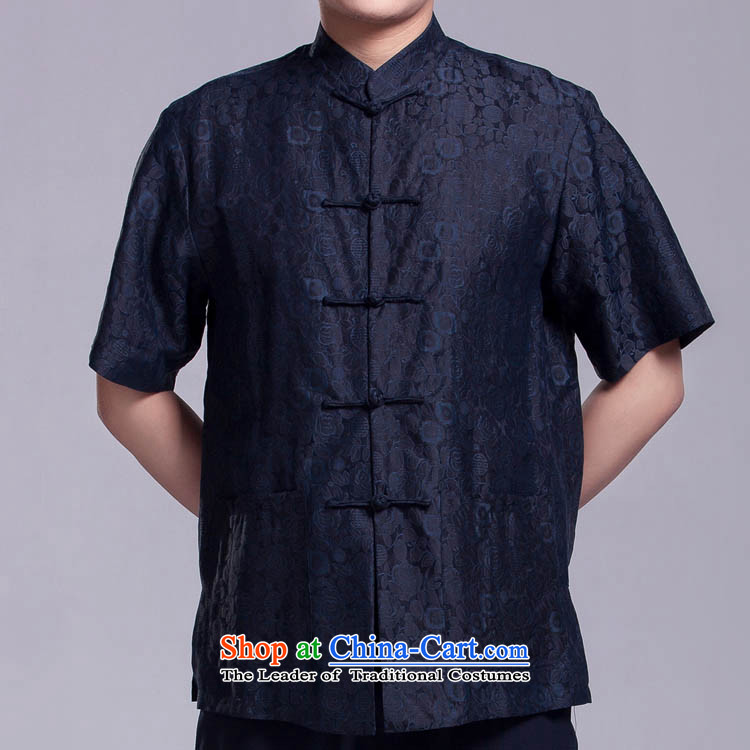 Blue Mr Ngan Man short-sleeved Tang dynasty summer in older herbs extract shirt cloud of incense yarn silk shirts?170_96_XL_ Figure