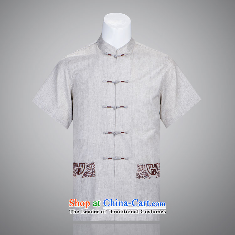 Jinhua upscale male cotton linen Tang dynasty summer short-sleeved manually. Older Chinese Disc summer 175/92(XXL) light gray shirt