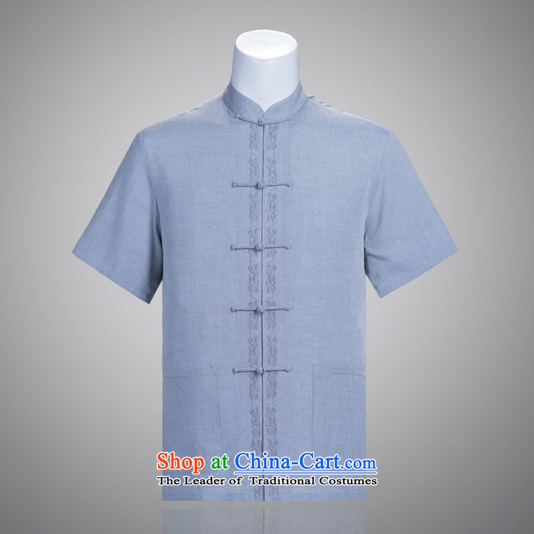 Chin Man Tang dynasty summer short-sleeved pure cotton linen in Tang Tang dynasty older manually disc detained blue-gray?175/96(XL) Embroidery