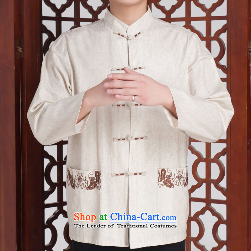 Jinhua older Chinese Tang dynasty men long-sleeved autumn replacing Tang dynasty, forming the Netherlands FIT cotton linen聽175_92_XXL_ Beige