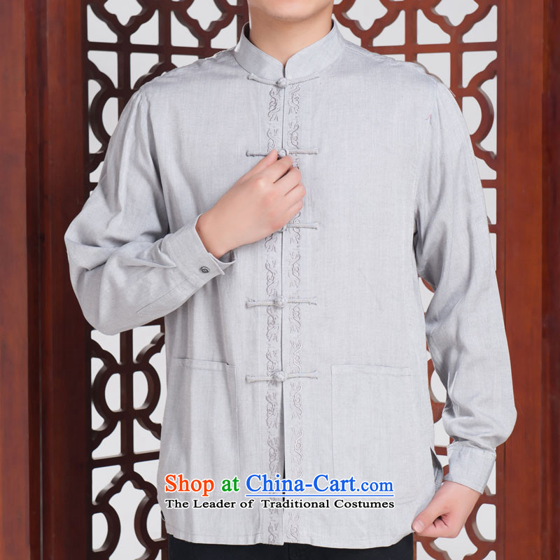 The Fairview Park, forming the Netherlands men Tang dynasty autumn in long-sleeved replacing older Chinese clothing ethnic characteristics, forming the Netherlands?180/100A(XXL) Light Gray