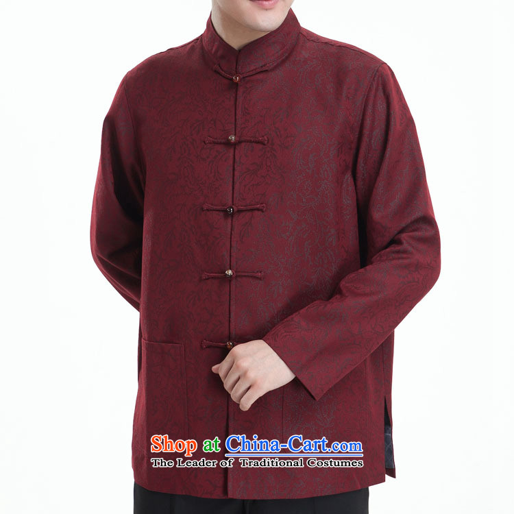 Mute the figure for men long-sleeved Tang dynasty male taxi Tang dynasty autumn blouses Kim scouring pads in the Tang-black?180/100(XXXL) older Dad