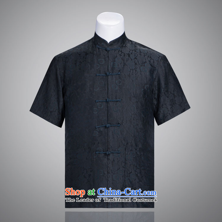 Blue Rose Tang dynasty male short-sleeved cloud of incense yarn men in Tang Dynasty older short-sleeved cloud of incense yarn figure?180/96(XXL)