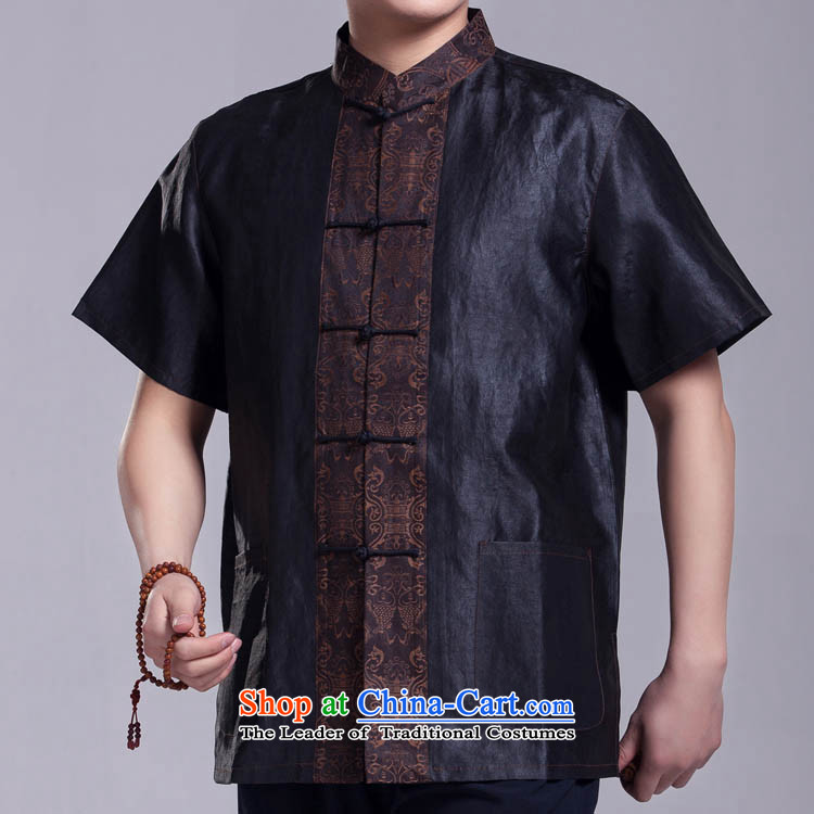 Cheung Sui Tang dynasty men short-sleeved silk yarn for Summer Scent cloud top figure 175/96(XXL)