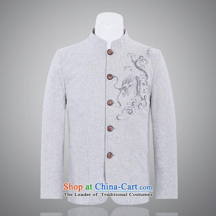 The real dragon in older men Chinese tunic Chinese ethnic collar gross jacket light gray?170_92A_XL_?