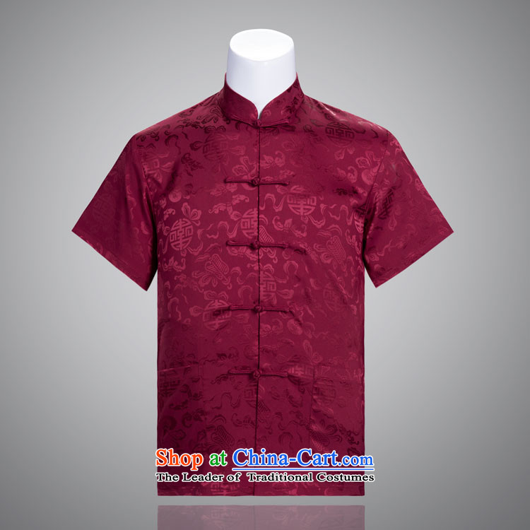 Cheung Man-Hi Tang dynasty summer short-sleeved in Tang Dynasty older Chinese clothing silk Tang Dynasty Father's Day Gifts 185/104A(XXXXL) red