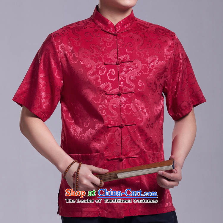 The dragon of Tang Dynasty male short-sleeved summer in older Chinese national costumes silk-tie china wind?170_92_L_ Silver Gray