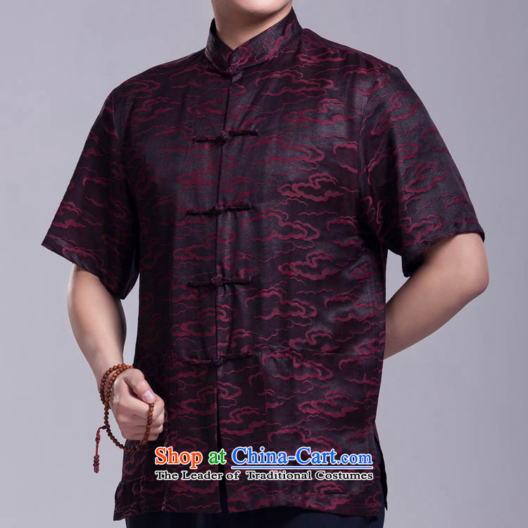 Xiangyun incense cloud yarn Tang dynasty men short-sleeved summer in older silk shirt?175_96_XL_ Figure