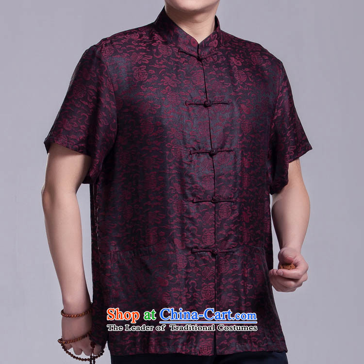 Cheung informed of the Tang dynasty men summer short-sleeved cloud of incense yarn silk shirt that older upscale Chinese Dress figure?170/92(L)