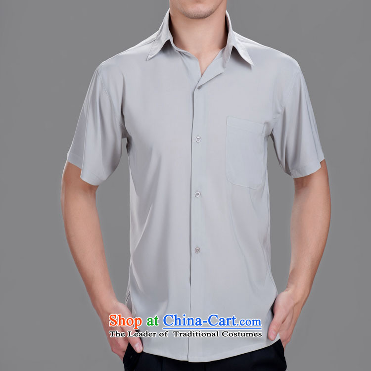 The superintendent of the Netherlands men Tang dynasty summer short-sleeved shirt Chinese leisure shirt in older men short-sleeved white�170/92A(L) Summer