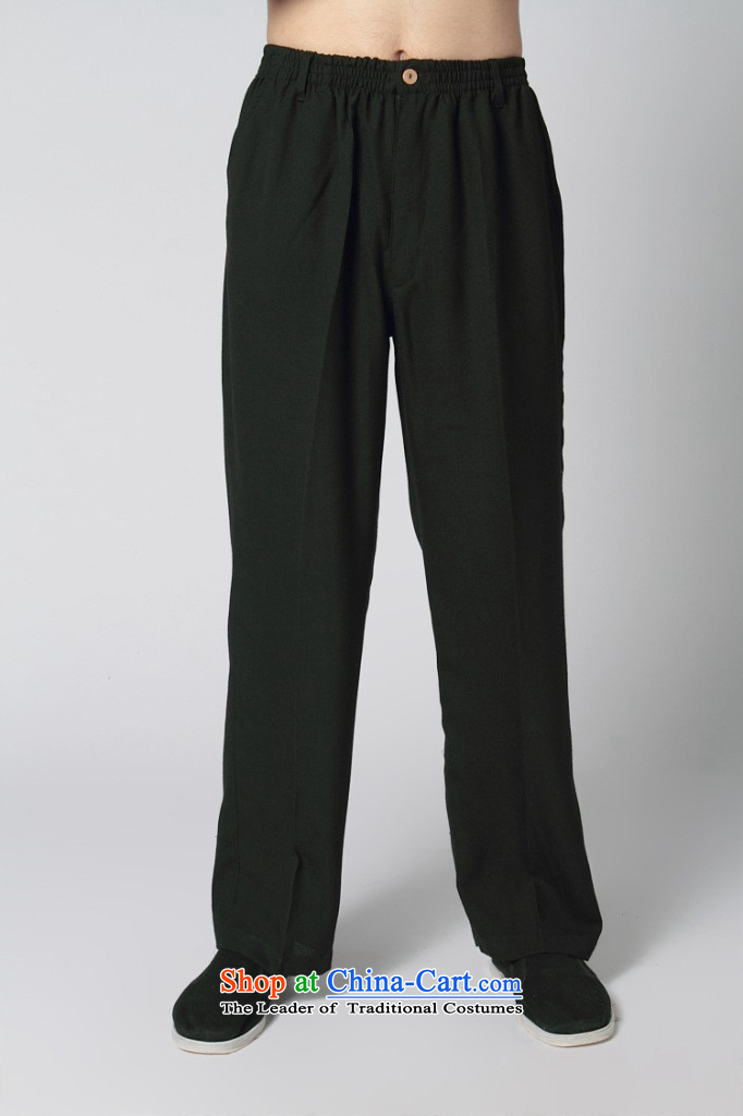 Tang Pants offer Chinese men's kung fu men cotton linen trousers with elastic strap Tang black trousers black?175/92(L)