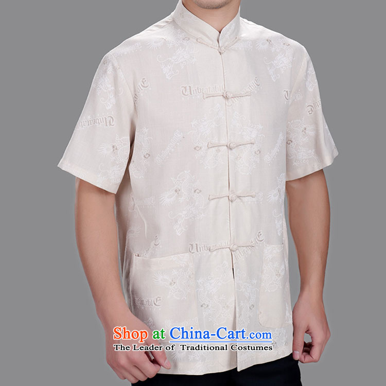Dragons Tang dynasty Classic cotton linen Tang dynasty men Tang Dynasty Tang short-sleeved blouses?2013 Summer New?170_92A_L_ Beige