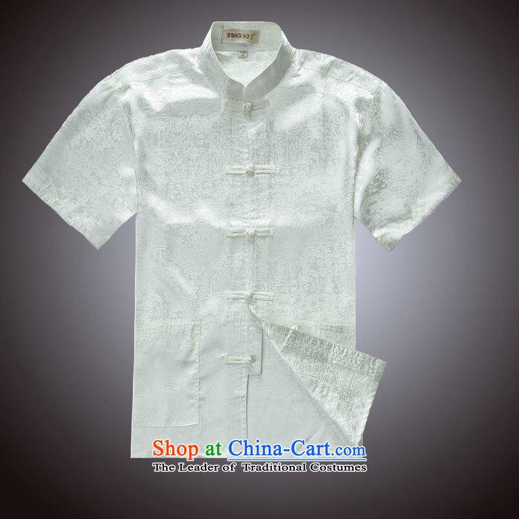 The River During the Qingming Festival  of Tang Dynasty men summer blouses silk Tang dynasty in short-sleeved yellow?190/108A(XXXXL) load dad older