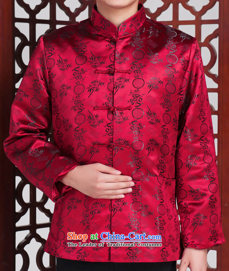Matsutake men in Tang Dynasty older brocade coverlets Tang dynasty long-sleeved red?185/100(XXL) autumn and winter.