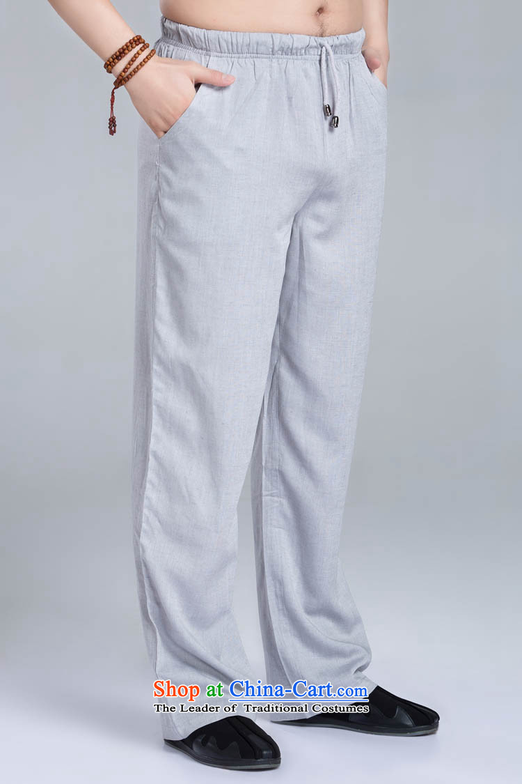 Cotton linen pants men tang with cotton linen pants figure聽XL