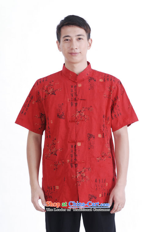 The elderly in the Tang dynasty and short-sleeved T-shirt?2014 Summer new festive red China wind father shirt?180/96(XL) red