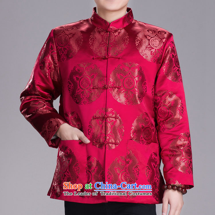 The Lung Men Tang Gown of winter clothing and thick old folder birthday of the loaded golden marriage birthday wearing dark green?175/96A(XXL) Spring Festival