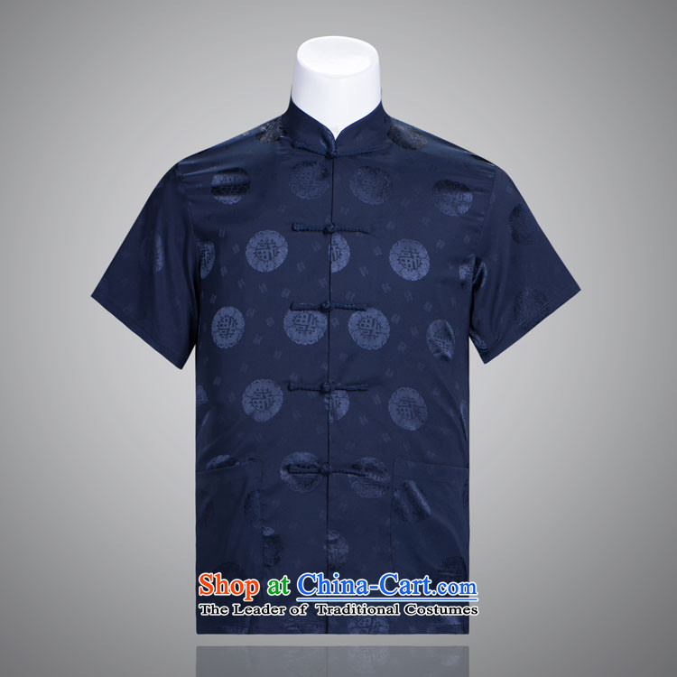 Tang Dynasty well rounded men and the elderly in the short-sleeved summer Tang Dynasty Package silk men Tang dynasty short-sleeved purchase packaged images from two T-shirts are?170/92A(XL)