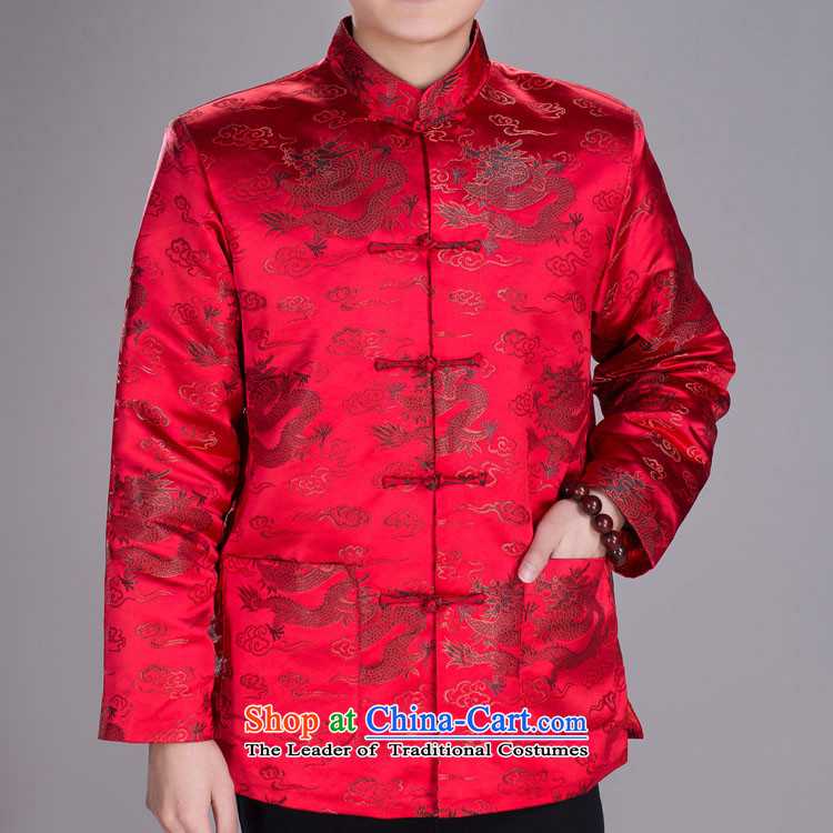 Jeon Yong-Tang dynasty male taxi Tang dynasty winter clothing in older winter robe jacket folder and drive port of red聽175_96A_XXL_ thick