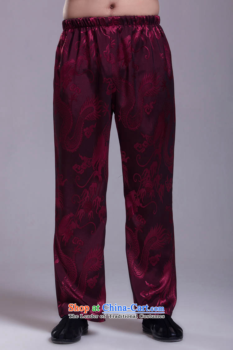 Mr Tang dynasty pants summer Kit companion pants Large Dragon wine red聽XL