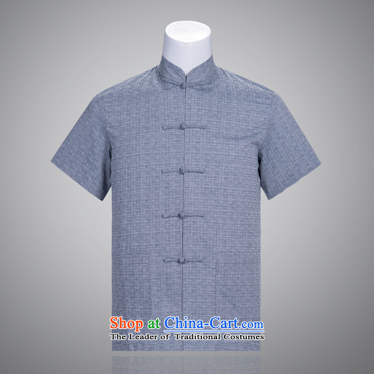Days of the Tang dynasty men summer cotton linen Short-Sleeve Men in Tang Dynasty Chinese summer older Chinese tunic dark figure聽185_104A_XXXXL_