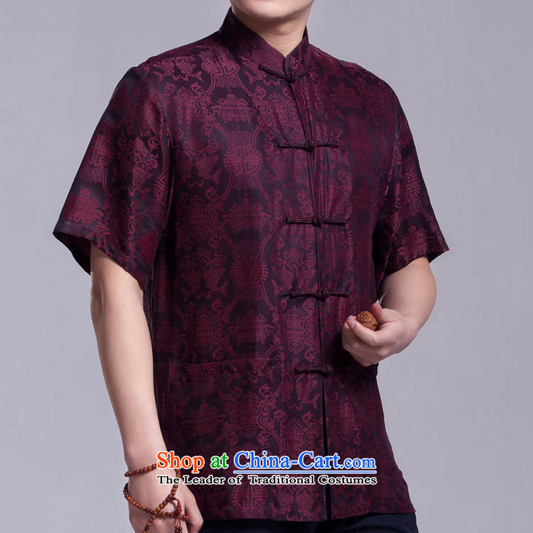 The Beas men Tang Dynasty Chinese elderly in Summer Scent cloud yarn silk shirt short-sleeved tray clip figure�0_88_L_ Collar