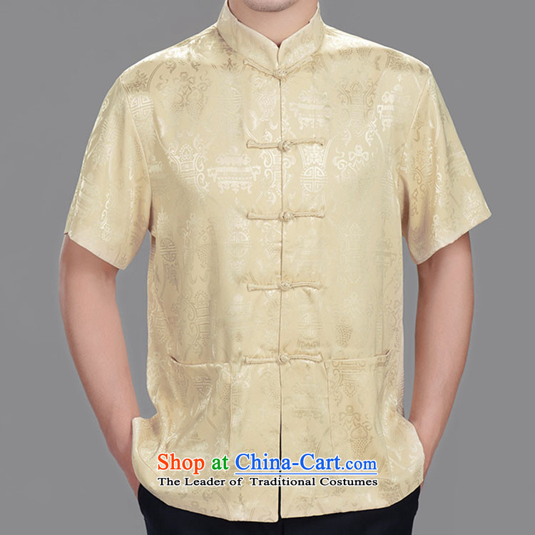 The Beas longevity in older men Tang dynasty summer short-sleeved T-shirt and Tang dynasty silk?shirts in the summer of 2014?185/104A(XXXL) red