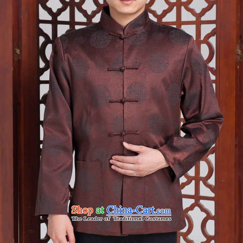Millennium fu shou men in Tang Dynasty older Fall_Winter Collections long-sleeved brocade coverlets Tang jackets聽180_100A_XXXL_ Dark Blue