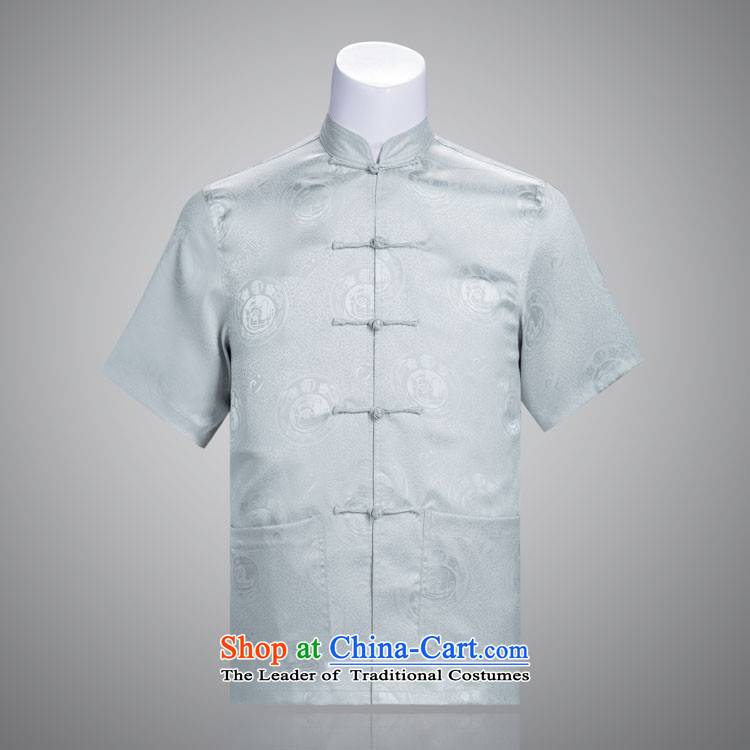 Tang Dynasty auspicious male short-sleeve Kit Man Tang Dynasty Package for older Chinese clothing summer short-sleeved gray聽175_92_XL_