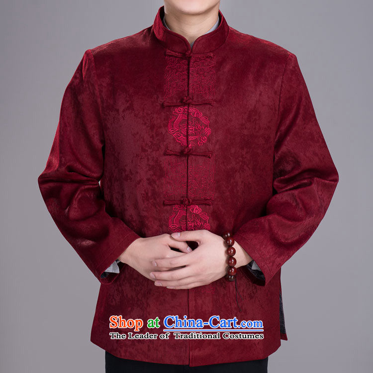 The elderly in the reunification men Tang Dynasty Winter Jackets Suede Tang dynasty�0_92A_L_ wine red