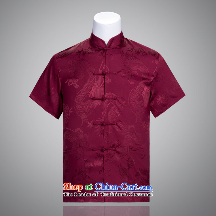 Tang Dynasty Large Dragon male short-sleeved summer men in Tang Dynasty silk older Chinese Clothing Gifts Red?180/100A(XXXL) Father's Day
