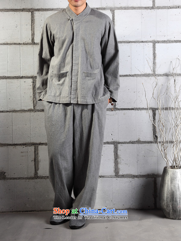 Cotton linen garments - Meditation_practicing meditation_Ball_serving original leisure men YL029 kit washable Gray?L