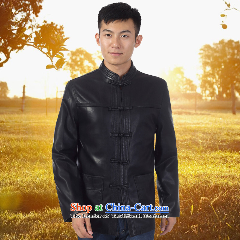 The 2014 autumn and winter in Tang Dynasty Chinese tunic in older long Korean collar leather jacket Black?190