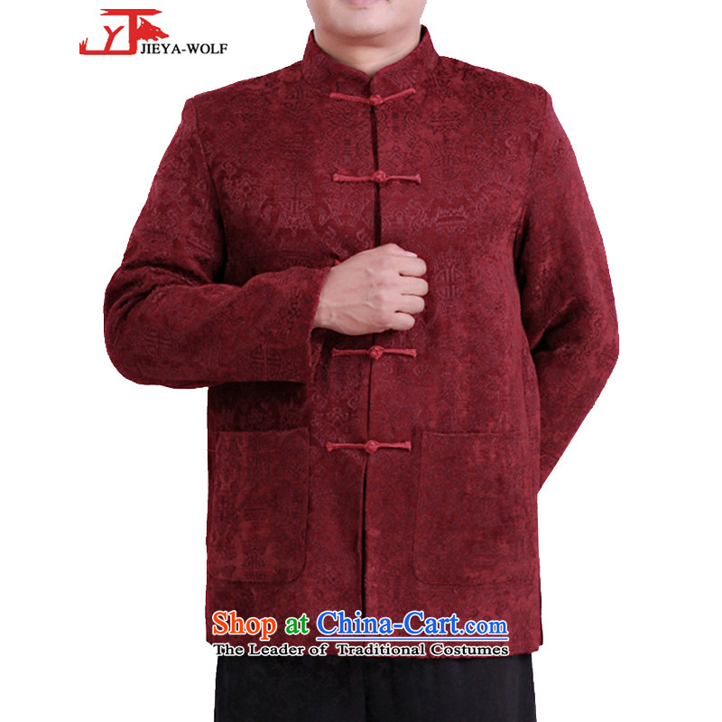 Tang Dynasty new JIEYA-WOLF Long-sleeve Our autumn and winter coats men Tang dynasty ?t��a autumn and winter is smart casual clothes 0071339?190/XXXL red