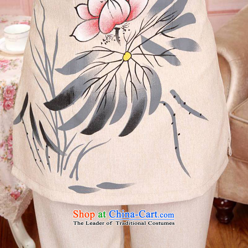 Can Green in the autumn trendy new products older Mock-neck stamp mom and dad couples Tang Dynasty Package D /2501# - 1 women, L, to the beige green, , , , shopping on the Internet