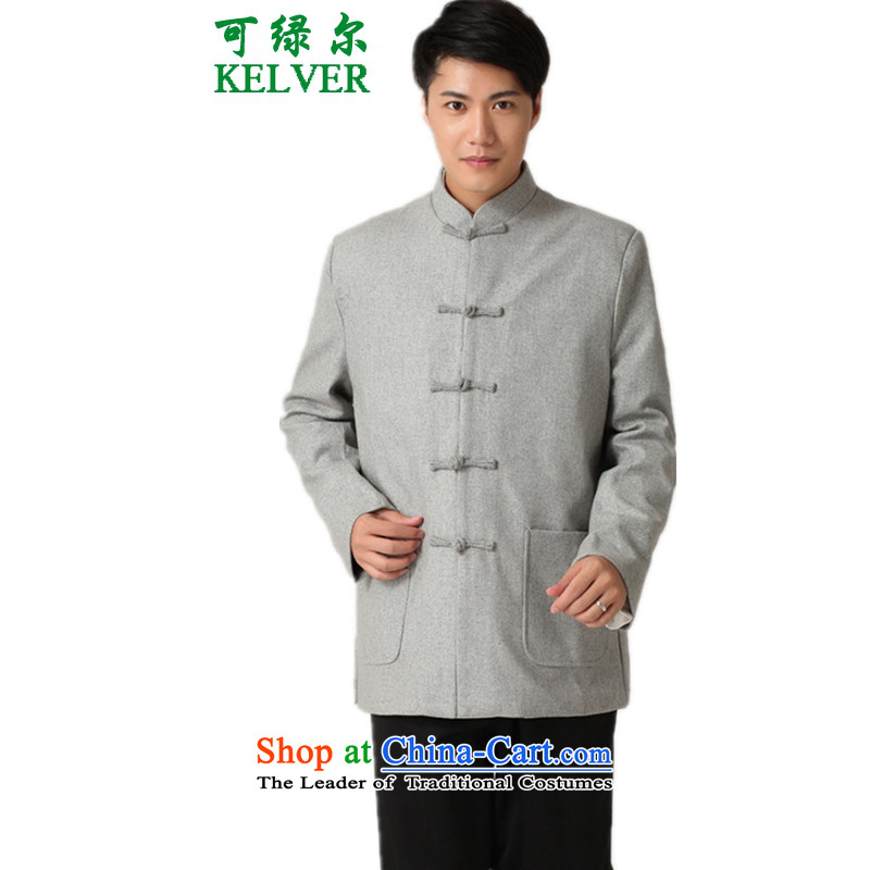Can Green in older autumn and winter trendy new products of Men's Mock-Neck pure color name ethnic wind load single row deduction father Tang jackets - 1 Gray 2XL