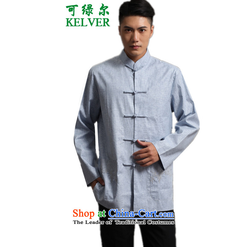 Can Green in older autumn and winter trendy new products of Men's Mock-Neck sheikhs wind single row detained mothers replacing Tang dynasty embroidered jacket - 1 L