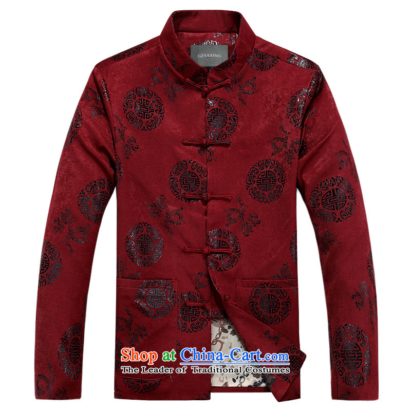 Bosnia and Tang dynasty line thre men long-sleeved jacket coat men during the Spring and Autumn Chinese men sheikhs clothing China wind Men's Mock-Neck tray clip red winter) Father XXL/185