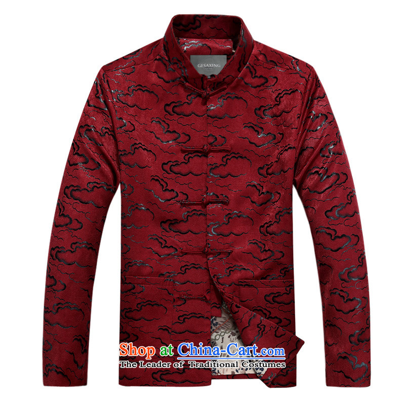 Bosnia and the spring and autumn new line thre older Xiangyun long-sleeved sweater ethnic collar disc is older jacket relaxd fit Xiangyun long-sleeved sweater father red winter_聽XL_180