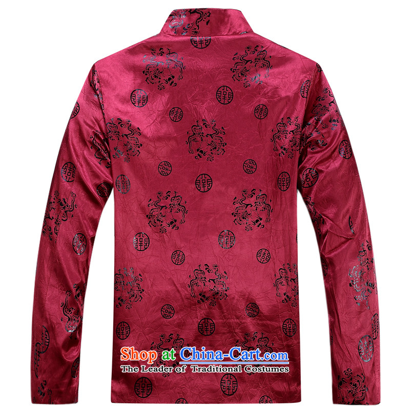 Genuine New Elderly Fall/Winter Collections Fashion Round Lung Men long-sleeved sweater of ethnic Chinese Men's Mock-Neck taxi fare cotton autumn and winter coats of Tang Dynasty father boxed purple winter) thre Bosnia and lines (XL/180, gesaxing) , , , s