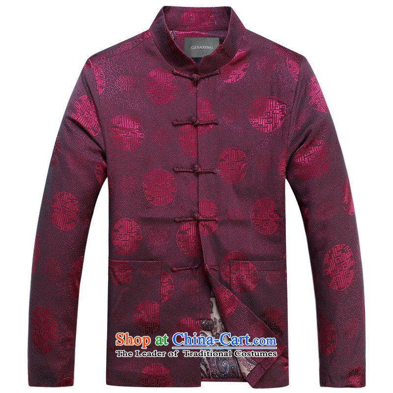 Thre line autumn and winter and New Men's Mock-Neck tray clip Millennium Tang blouses jacket men's jackets clothes for men in the millennium year long-sleeved Tang dynasty multi-colored red winter) Optional�M/170